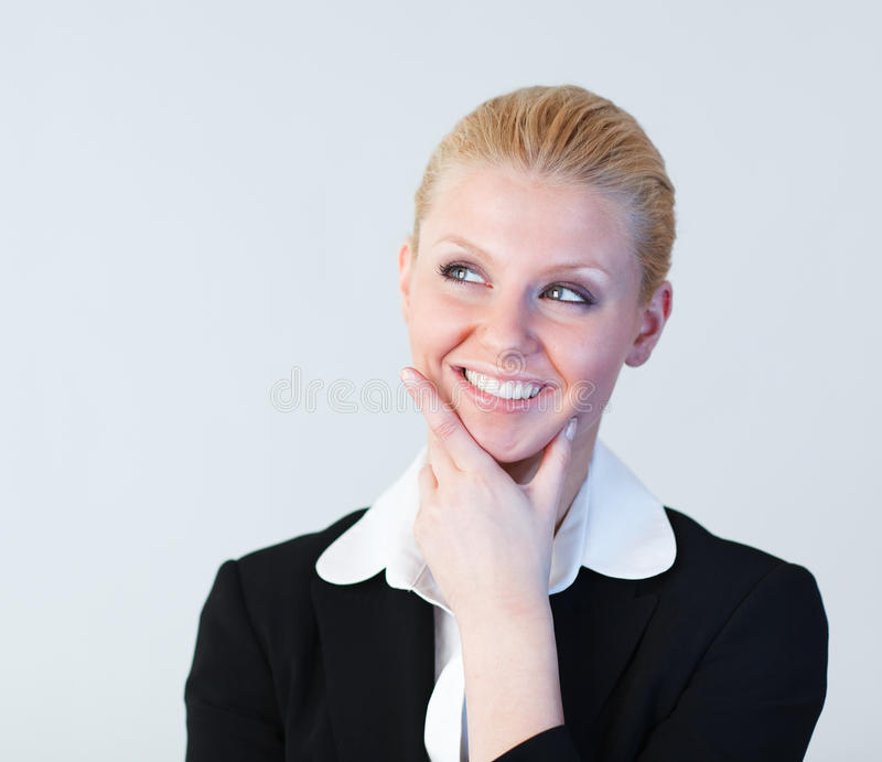 Junges Geschäftsfraudenken lizenzfreie stockbilder