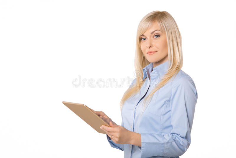 Junges Geschäftsfrauporträt lokalisiert auf Weiß stockbild