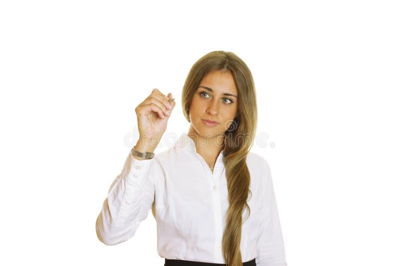 Junges Geschäftsfrauschreiben mit Feder lizenzfreies stockbild