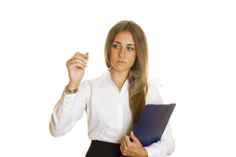 Junges Geschäftsfrauschreiben mit Feder lizenzfreies stockfoto