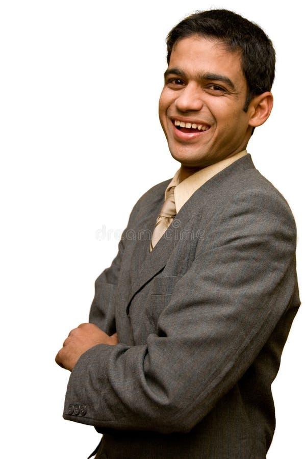 Junges Geschäftsmannlächeln lizenzfreie stockfotografie
