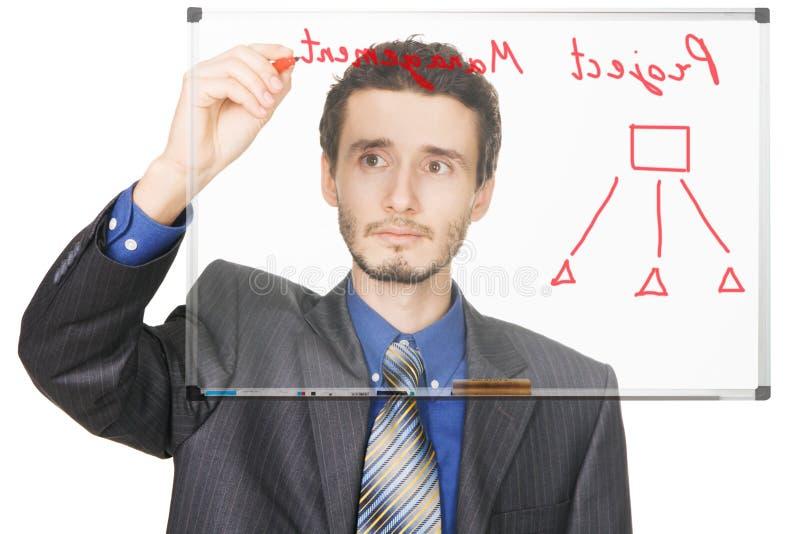 Junges Geschäftsmannschreiben auf whiteboard lizenzfreie stockfotos