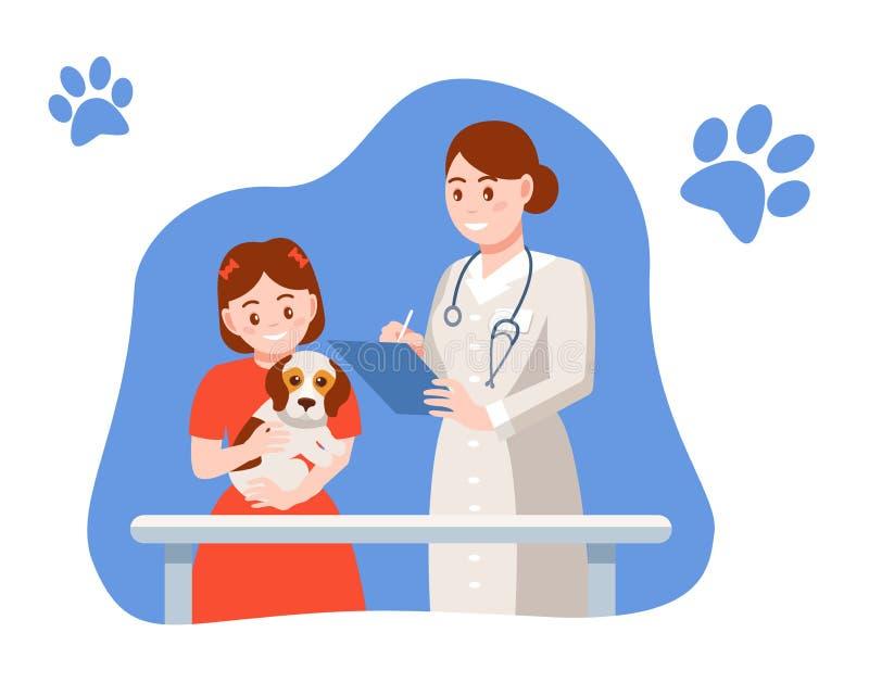 Junges glückliches Mädchenumarmungshaustier, bei Empfang an Tierarztdoktor lizenzfreie abbildung