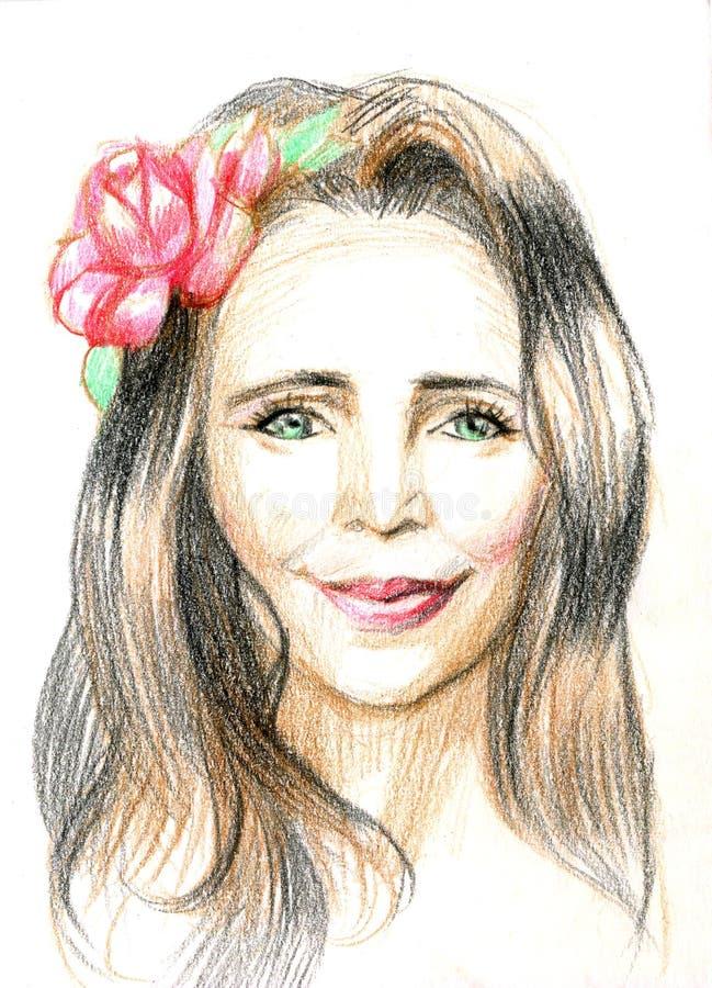 Junges hübsches Frauenportrait Gezogene elegante Mädchenrotblumen Romantische Damenskizze Grünäugiges Mädchen mit einer Blume in  lizenzfreie abbildung