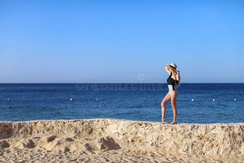 Junges hübsches heißes sexy attraktives Mädchen, das im Badeanzug auf Steinen mit blauem Meer und im Himmel auf Hintergrund sich  lizenzfreies stockbild