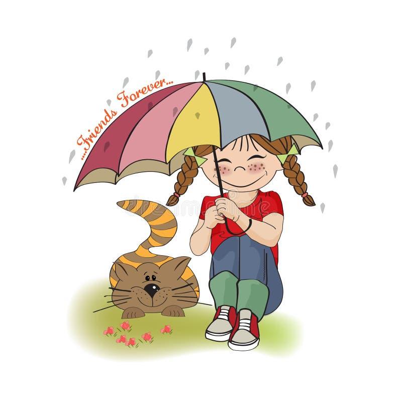 Junges hübsches Mädchen und ihre Katze, Freundschaftskarte