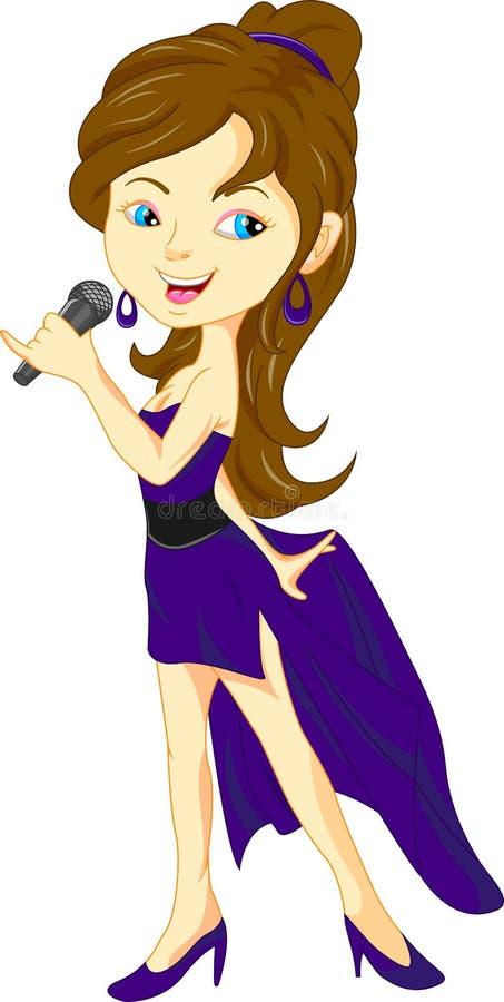 Junges hübsches singendes Mädchen lizenzfreie abbildung