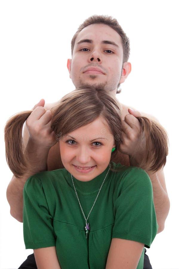 Junges hansome und ein junges Mädchen des Sweety stockfoto