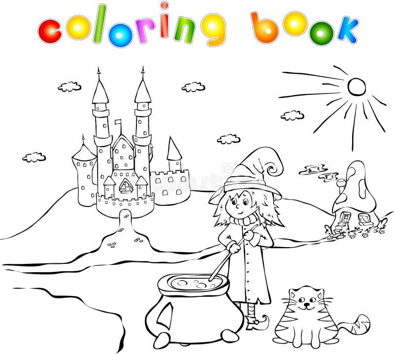 Junges Hexen-, Katzen-, Schloss- und Pilzhaus lizenzfreie abbildung