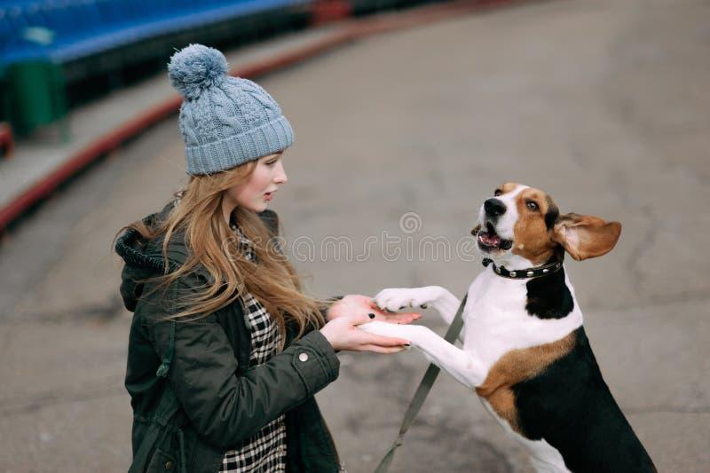 Junges Hippie-Mädchen mit ihrem estnischen Jagdhund des Haustieres, der den Spaß im Freien am alten Stadion spielt, junping und u stockbild