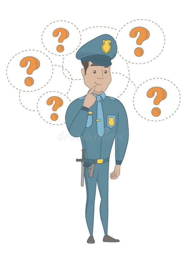 Junges hispanisches Polizistdenken stock abbildung
