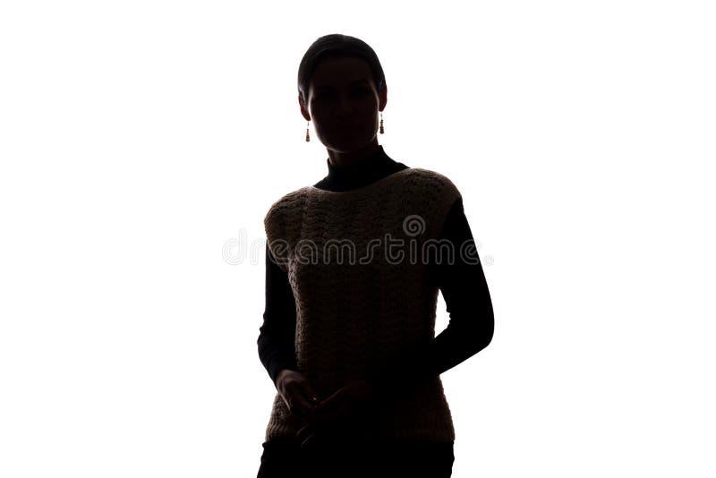 Junges horizontales Schattenbild des Frauenblickes voran - stockbilder
