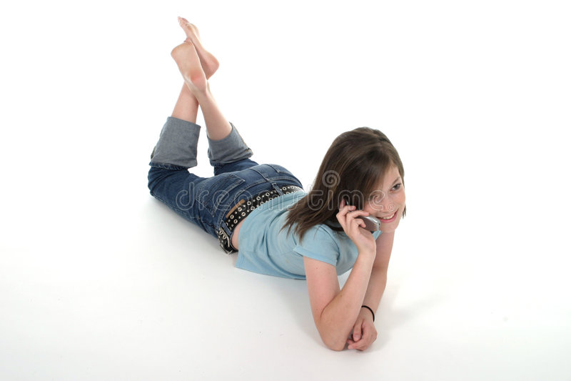 Download Junges Jugendlich-Mädchen, Das Auf Mobiltelefon 5 Spricht Stockbild - Bild von freund, hören: 870933