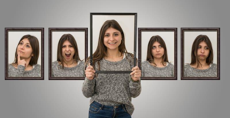 Junges kaukasisches Mädchen zeigt verschiedene Gesichtsausdrücke stockbilder