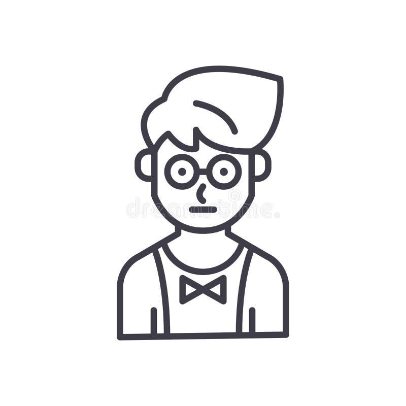 Junges Kellnerschwarz-Ikonenkonzept Flaches Vektorsymbol des jungen Kellners, Zeichen, Illustration vektor abbildung