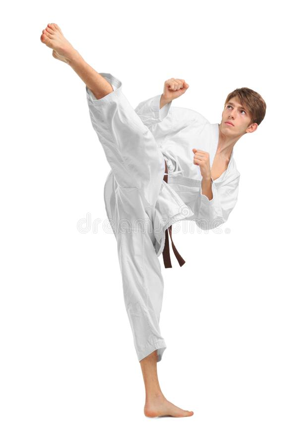 Junges Kerl karatek mit braunem Gurt auf Weiß lokalisierte Hintergrund lizenzfreie stockbilder