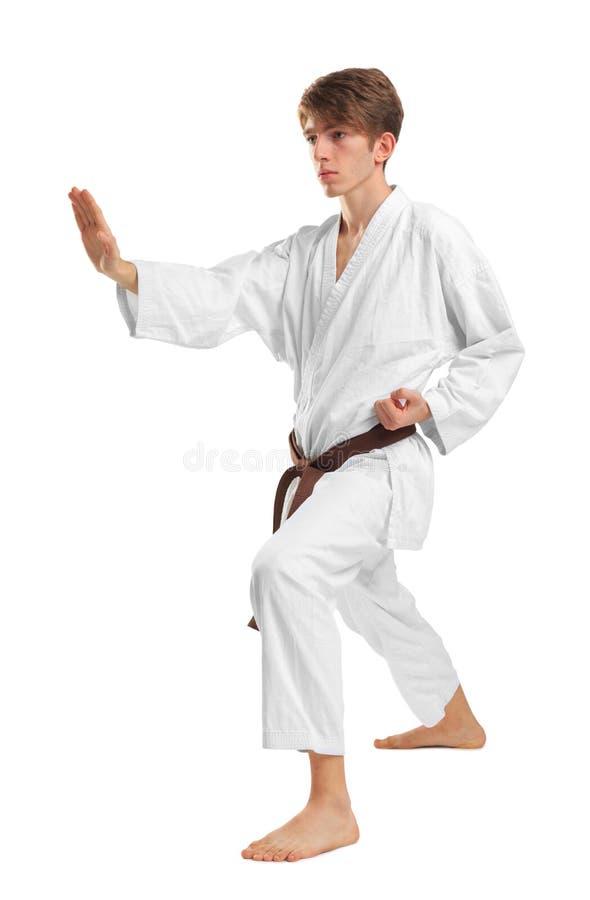 Junges Kerl karatek mit braunem Gurt auf Weiß lokalisierte Hintergrund lizenzfreies stockfoto