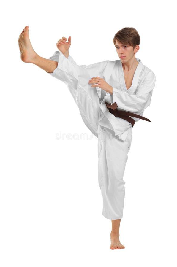 Junges Kerl karatek mit braunem Gurt auf Weiß lokalisierte Hintergrund lizenzfreie stockfotos