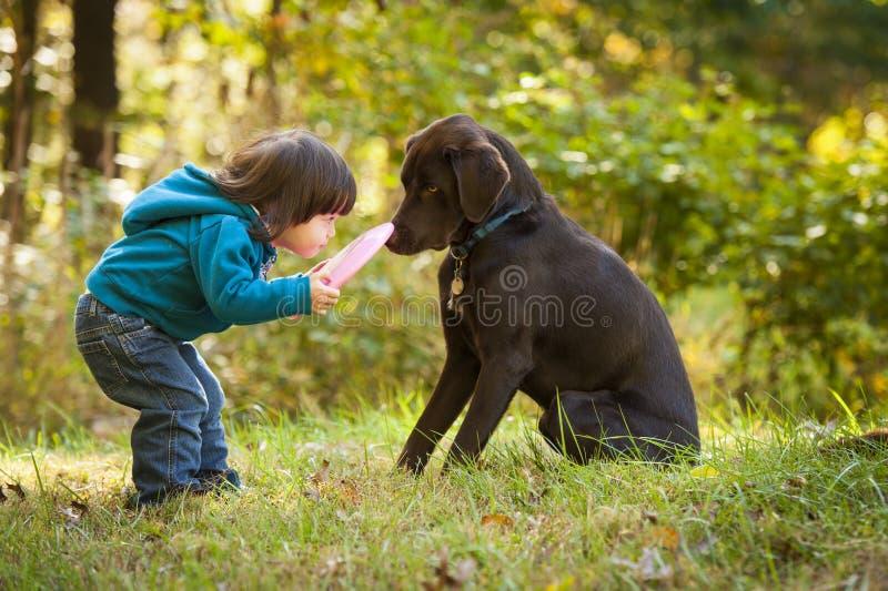 Junges Kind, das Reichweite mit Hund spielt lizenzfreie stockbilder