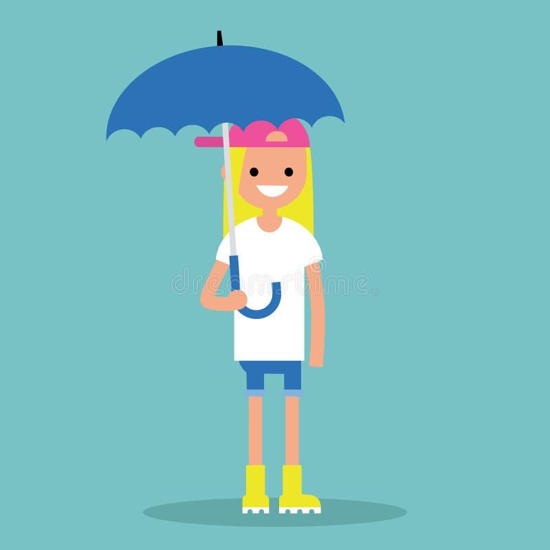 Junges lächelndes Mädchen mit dem Regenschirm, der gelbe Gummistiefel/f trägt lizenzfreie abbildung