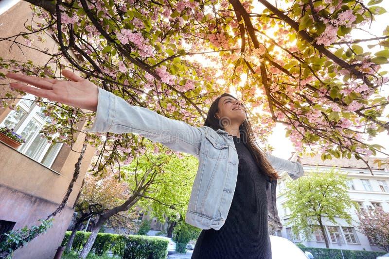 Junges Mädchen mit den Armen weit, die die Kirschbaumstraße offen und enjoing sind stockfotografie