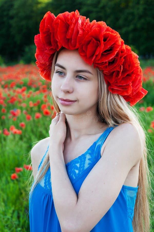 Junges Mädchen auf dem Mohnblumengebiet stockfoto