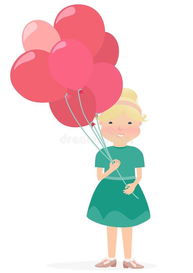 Junges Mädchen Cartooned, das die roten und rosa Ballone hält vektor abbildung