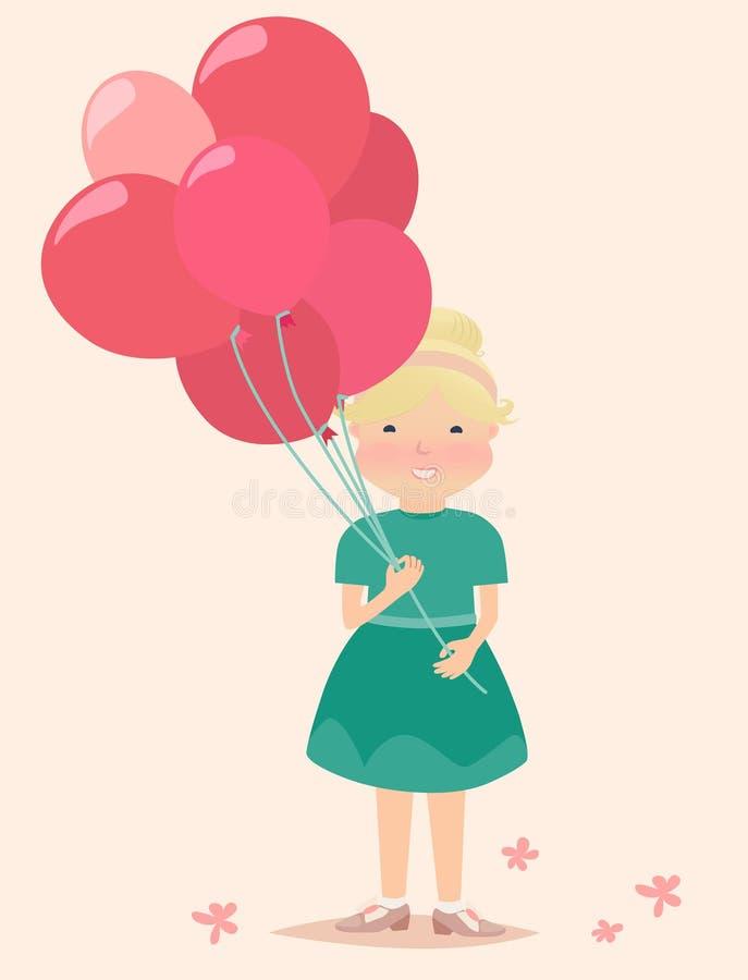 Junges Mädchen Cartooned, das die roten und rosa Ballone hält stock abbildung