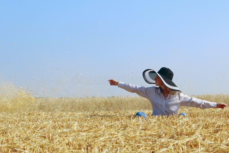Junges Mädchen, das auf ein Weizenfeld über Hintergrund des blauen Himmels geht Sorglose junge sitzende Frau, blauer Himmel, Weiz lizenzfreie stockfotografie