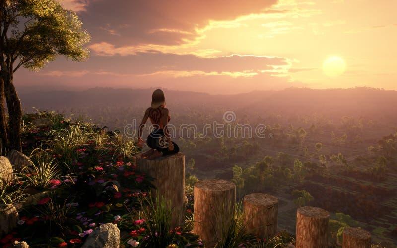 Mädchen, welches die Sonnenuntergang-Landschaft aufpasst lizenzfreie abbildung