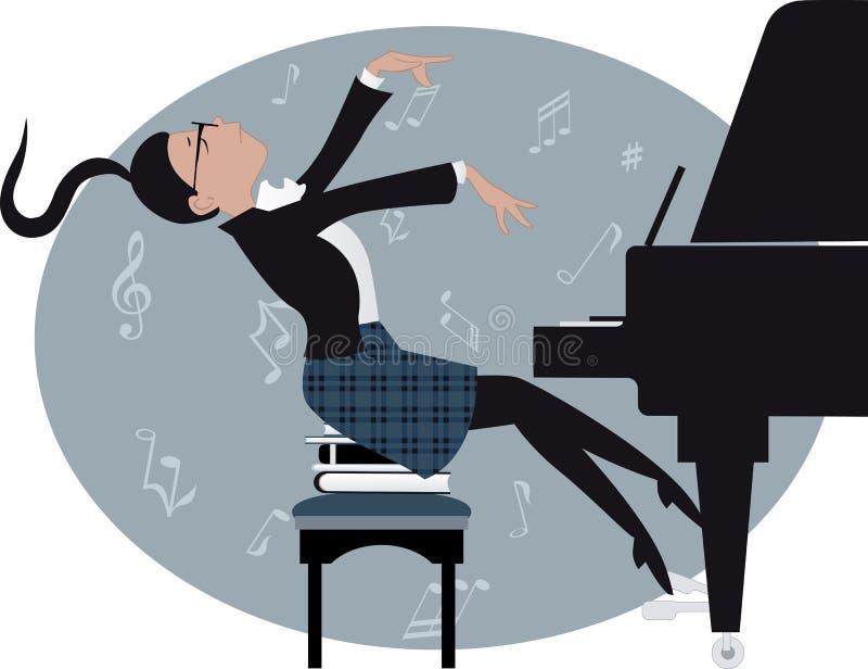 Junges Mädchen, das ein Klavier spielt vektor abbildung