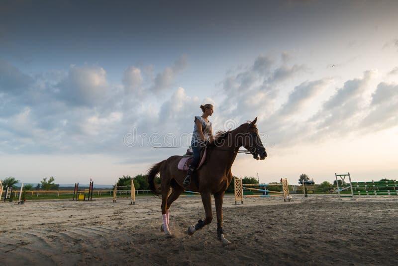 Junges Mädchen, das ein Pferd reitet lizenzfreies stockfoto