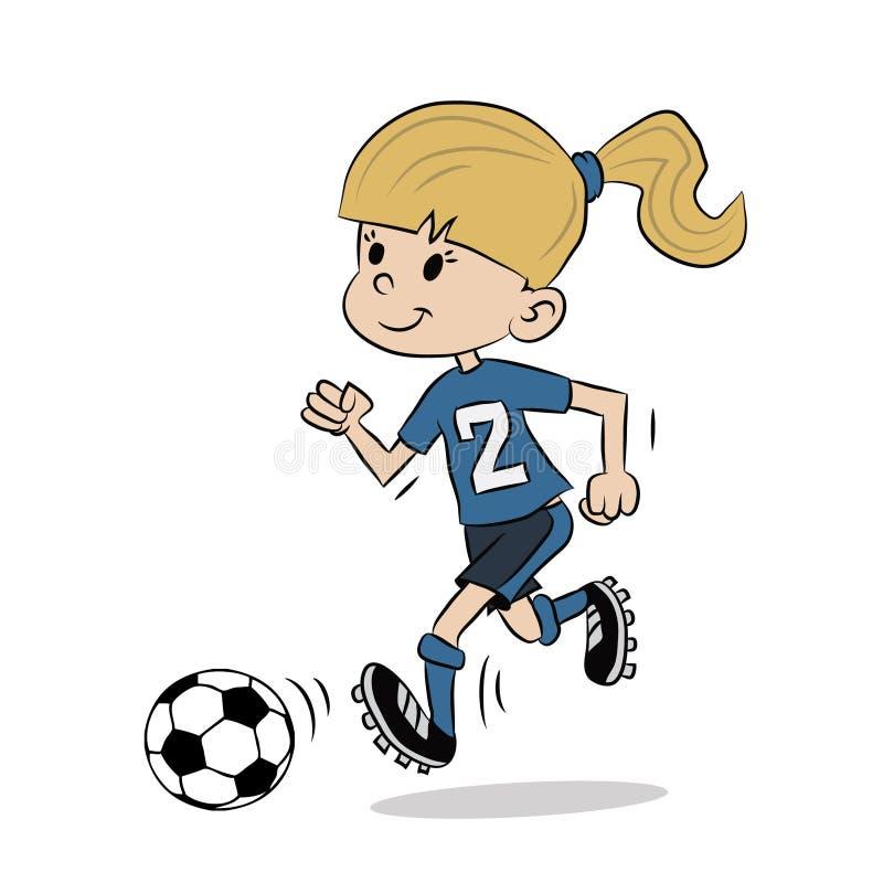 Junges Mädchen, das Fußball und Betrieb nach Ball spielt stock abbildung