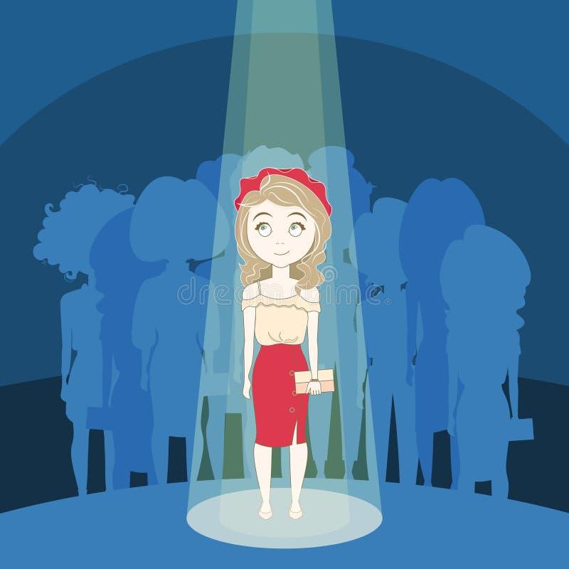 Junges Mädchen, das heraus Menge im Scheinwerfer über Schattenbild-Leute-Gruppen-Hintergrund steht lizenzfreie abbildung