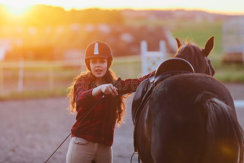 Junges Mädchen, das ihr Pferd bereit zum Reiten erhält lizenzfreies stockfoto