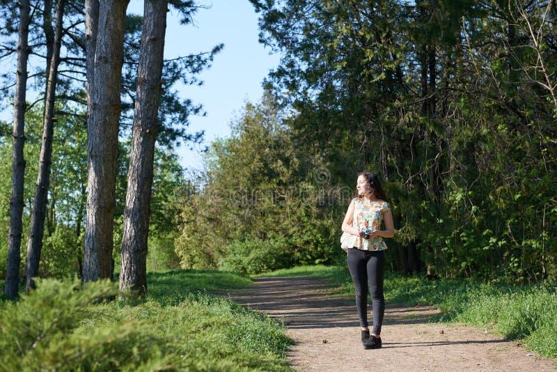 Junges Mädchen, das im Frühjahr Wald mit Kamera geht und Fotos macht lizenzfreie stockbilder