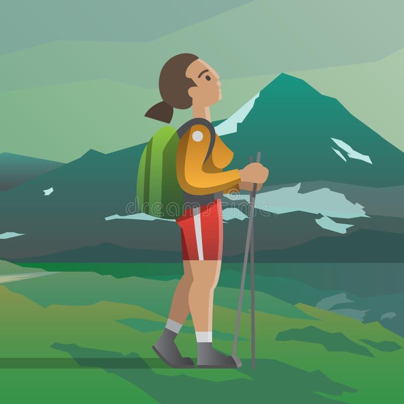 Junges Mädchen, das oben zum Berg schaut stock abbildung