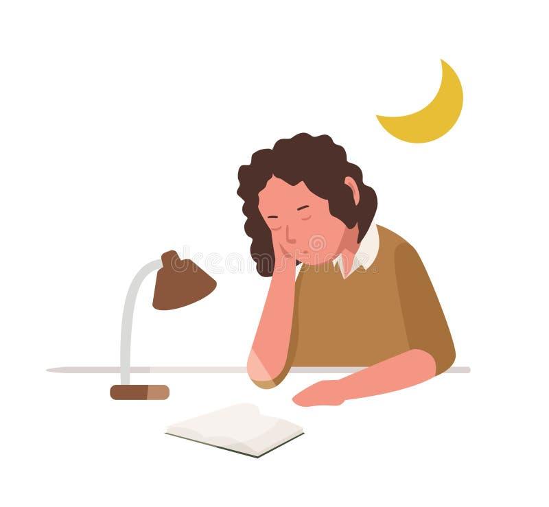 Junges Mädchen, das während Ablesenbuch oder Vorbereiten für die Schullektion, Prüfung oder Test nett schläft, schlummert oder dö stock abbildung