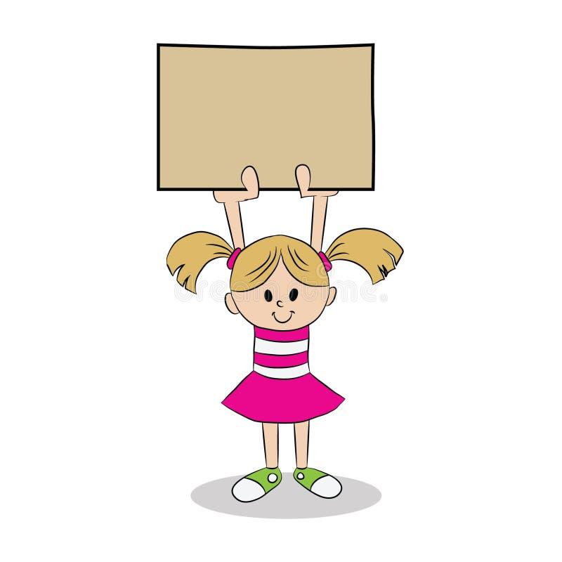 Junges Mädchen, das Zeichen hält vektor abbildung