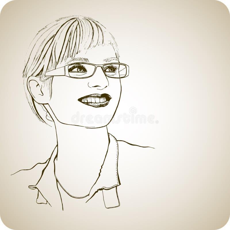 Junges Mädchen in den Gläsern mit einem Lächeln vektor abbildung