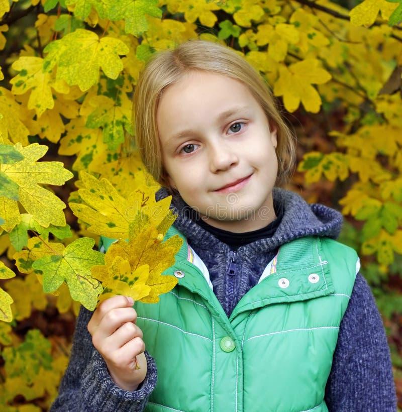 Junges Mädchen in den Herbst-Blättern stockfoto