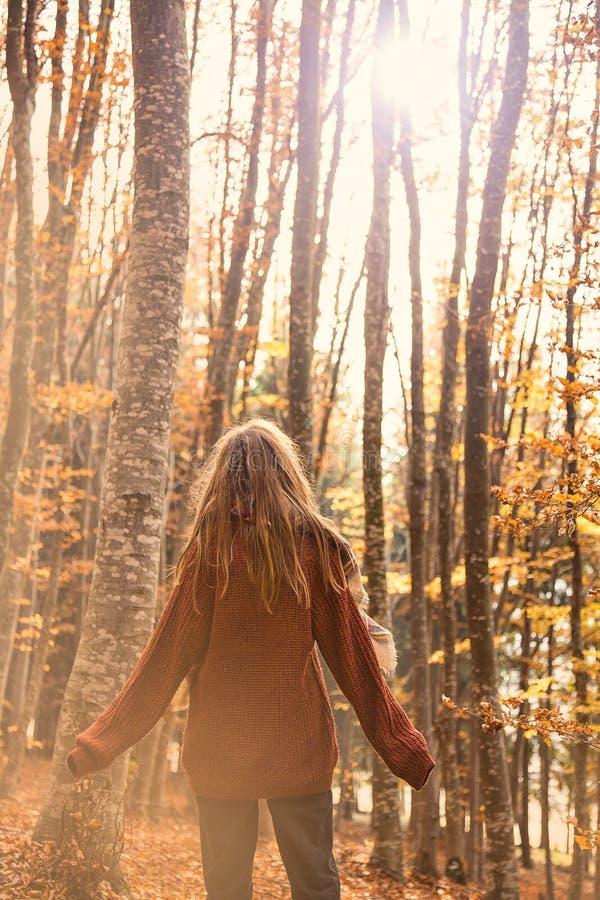 Junges Mädchen in der Herbstsaison im Park, Rückseite schoss von einem Mädchenesprit lizenzfreies stockbild
