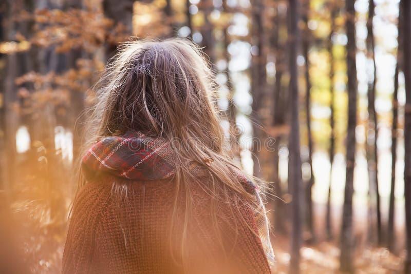 Junges Mädchen in der Herbstsaison im Park, Rückseite schoss von einem Mädchenesprit lizenzfreie stockfotografie