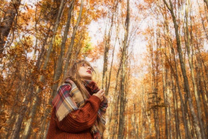 Junges Mädchen in der Herbstsaison im Park, Schuss eines Mädchens mit sca lizenzfreie stockbilder