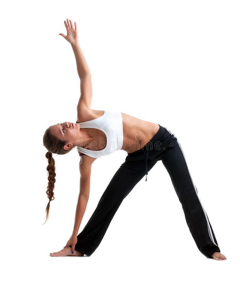 Junges Mädchen der Schönheit, das Yoga im Eignungkostüm aufwirft stockfotos
