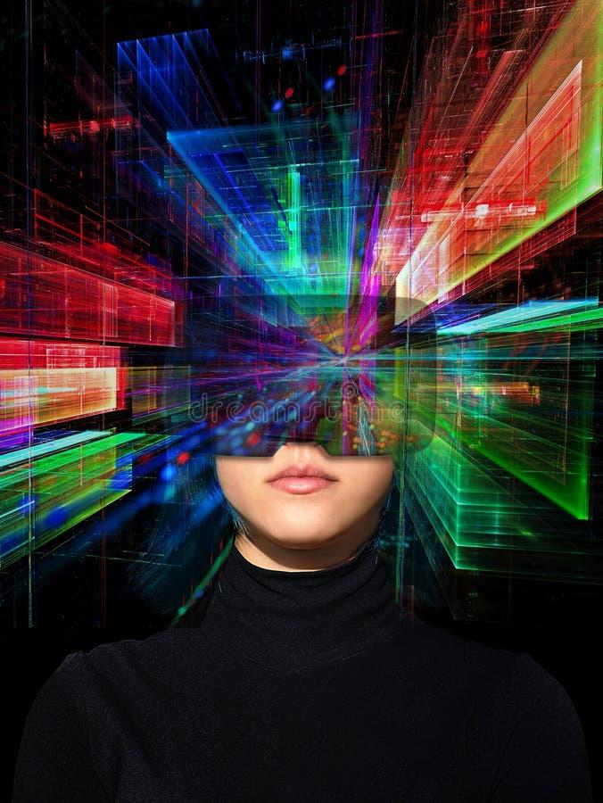 Junges Mädchen in der Welt der virtuellen Realität - futuristische Collage stock abbildung