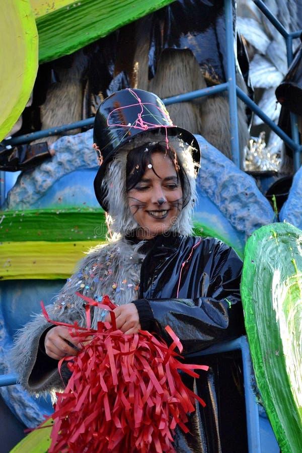 Junges Mädchen des Viareggio Karnevals lizenzfreie stockbilder