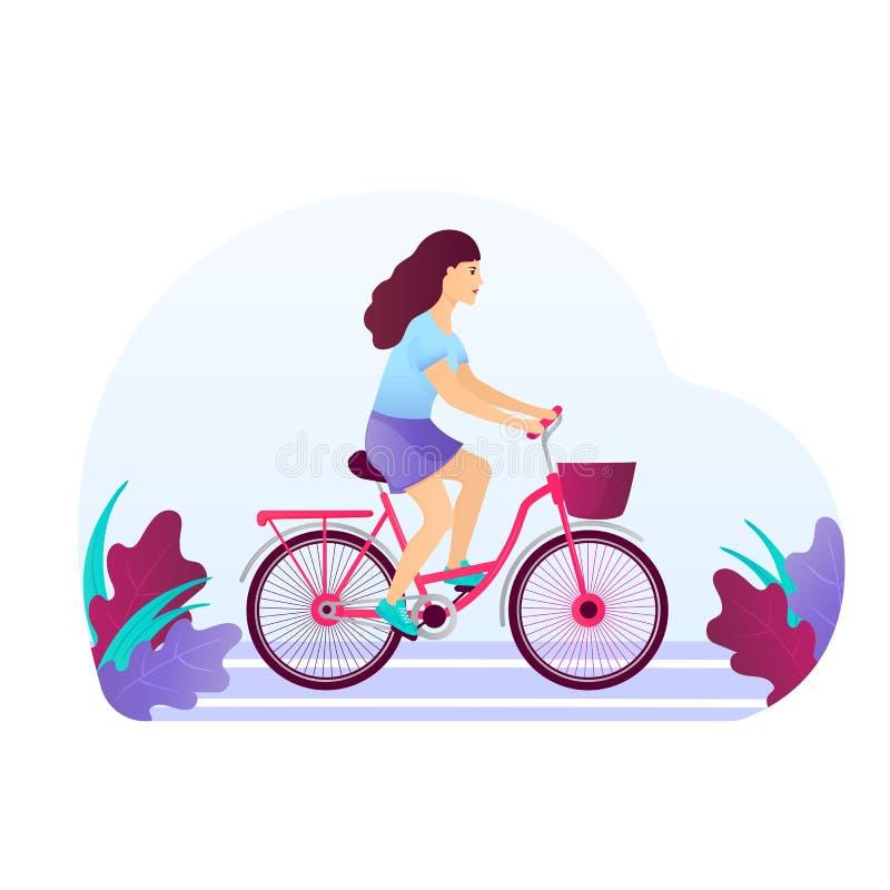 Junges Mädchen in einem T-Shirt, in einem Rock und in Turnschuhen auf einem Fahrrad Frau, die ein Fahrrad reitet vektor abbildung