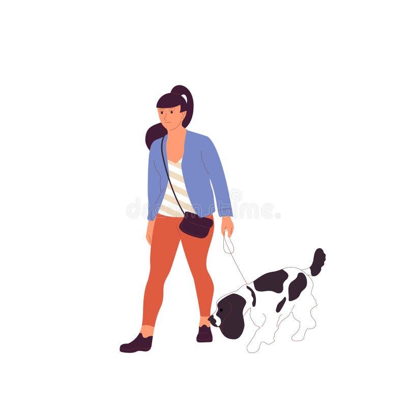 Junges Mädchen geht mit einem französischen spanielsetter Hund auf einer Leine Getrennt auf wei?em Hintergrund Flacher Artkarikat stock abbildung