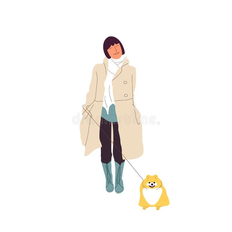 Junges Mädchen geht mit einem pomeranian Spitz, Hund auf einer Leine Getrennt auf wei?em Hintergrund Flacher Artkarikatur-Vorratv lizenzfreie abbildung